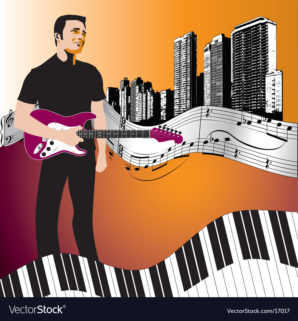 Music background start man vector | Price: 3 Credit (USD $3)