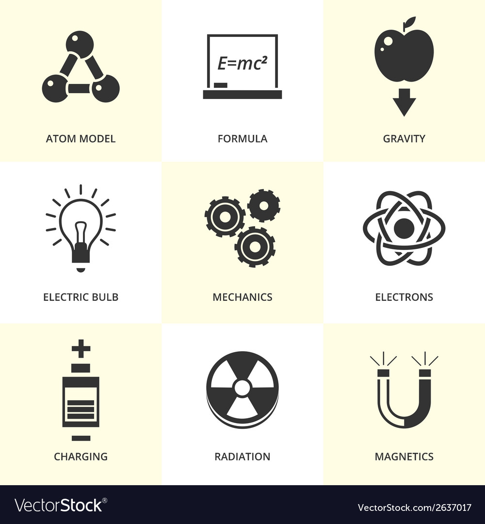 Set of black physics icons vector | Price: 1 Credit (USD $1)
