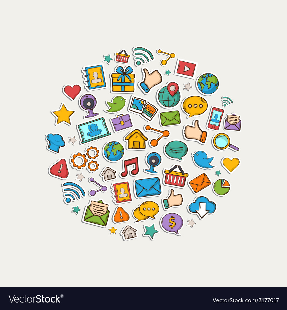 Sticker mobile apps set in the form of circle vector | Price: 1 Credit (USD $1)