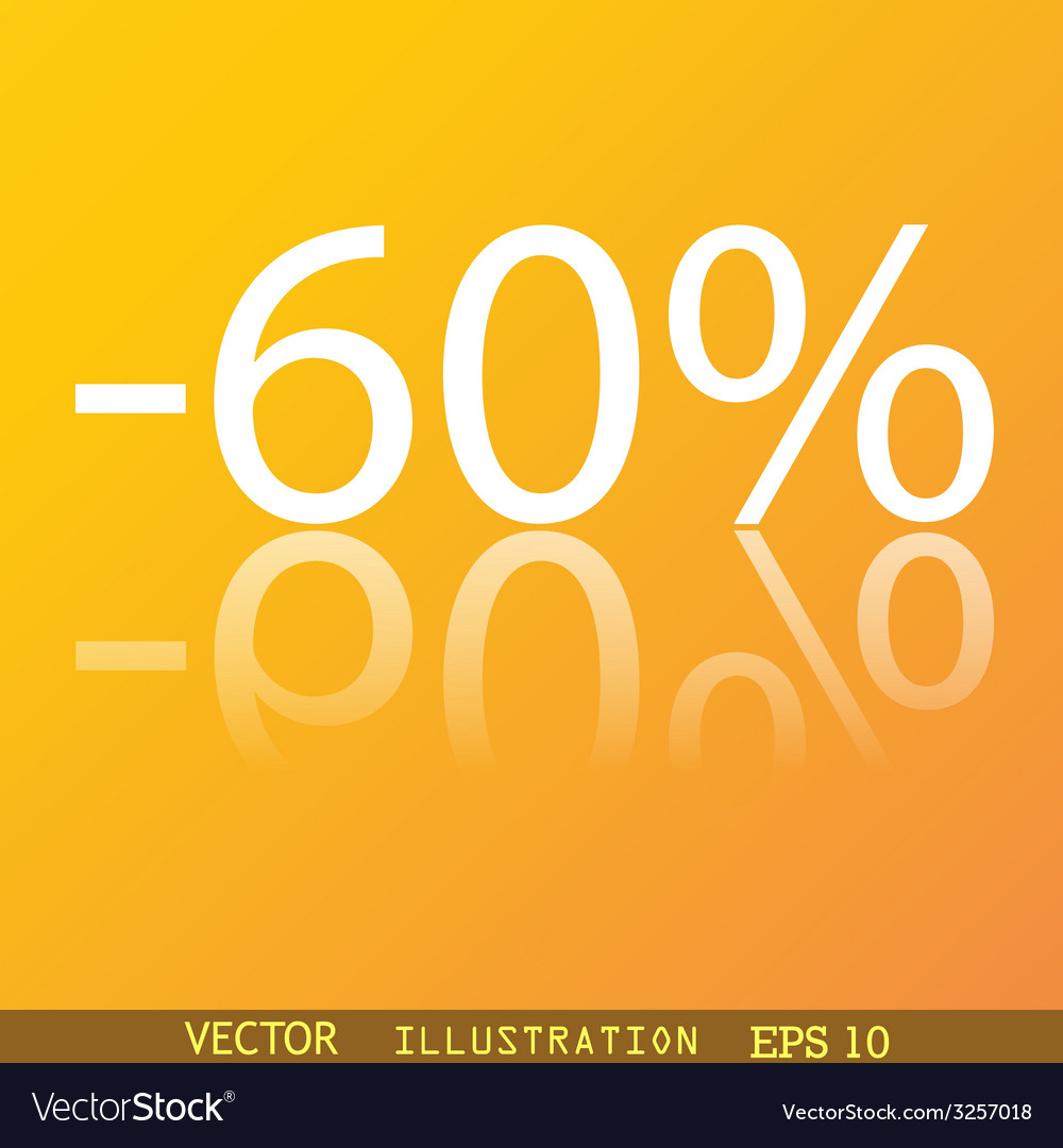 60 percent discount icon symbol flat modern web vector | Price: 1 Credit (USD $1)