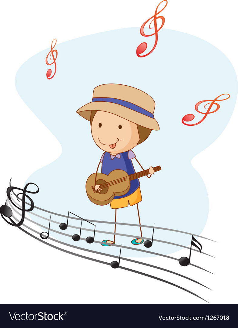 A kid playing with a guitar vector | Price: 1 Credit (USD $1)
