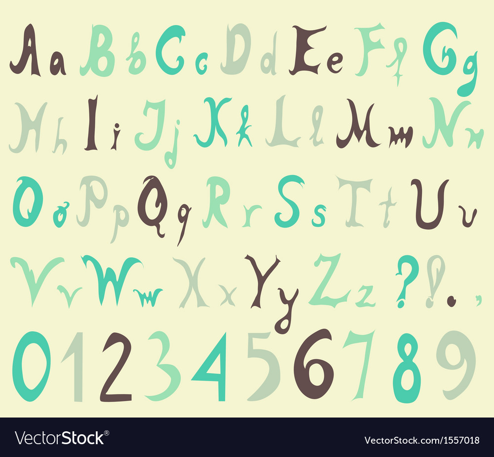 Alphabet letters and numbers vector | Price: 1 Credit (USD $1)