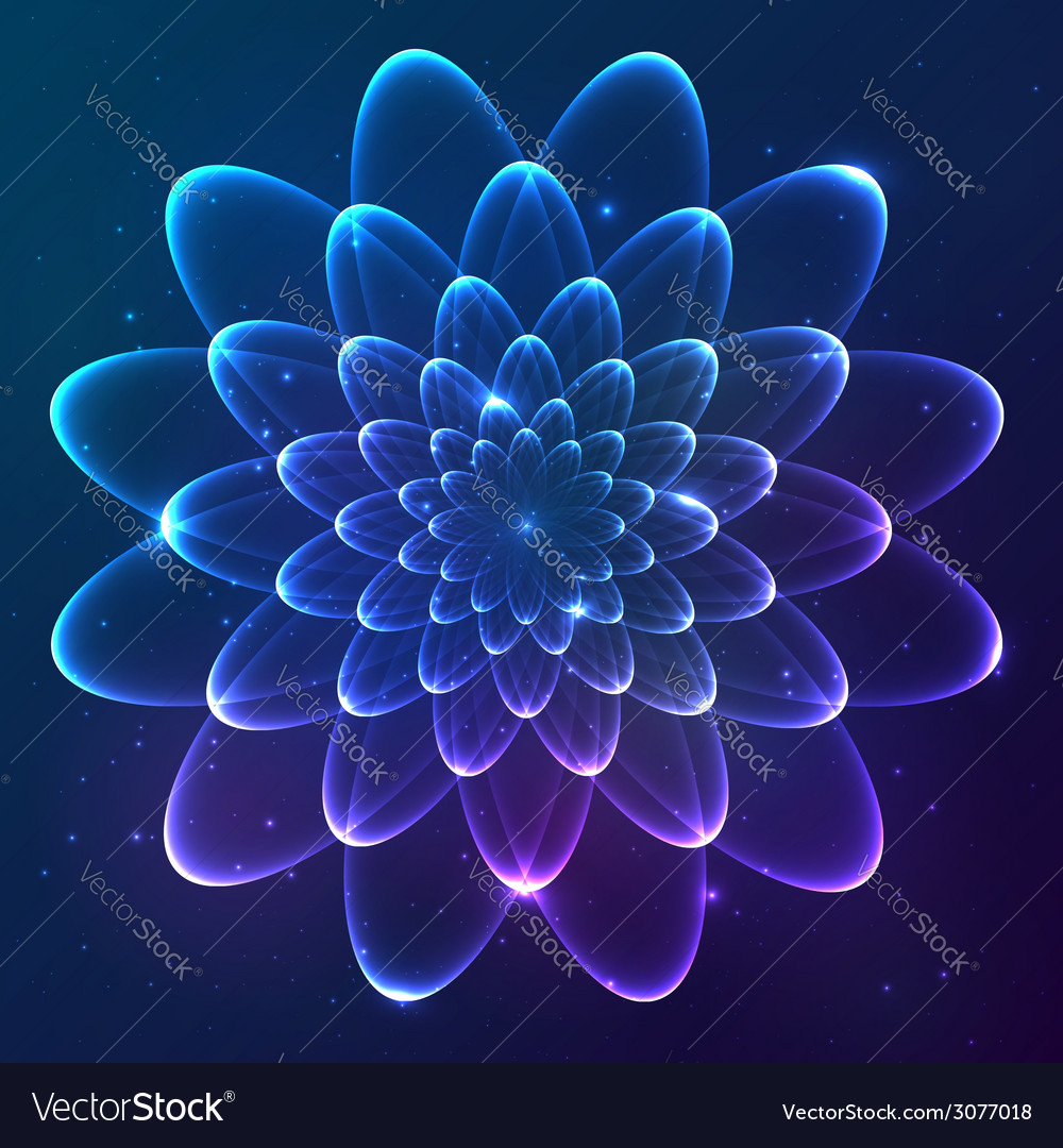 Blue shining cosmic flower vector   Price: 1 Credit (USD $1)