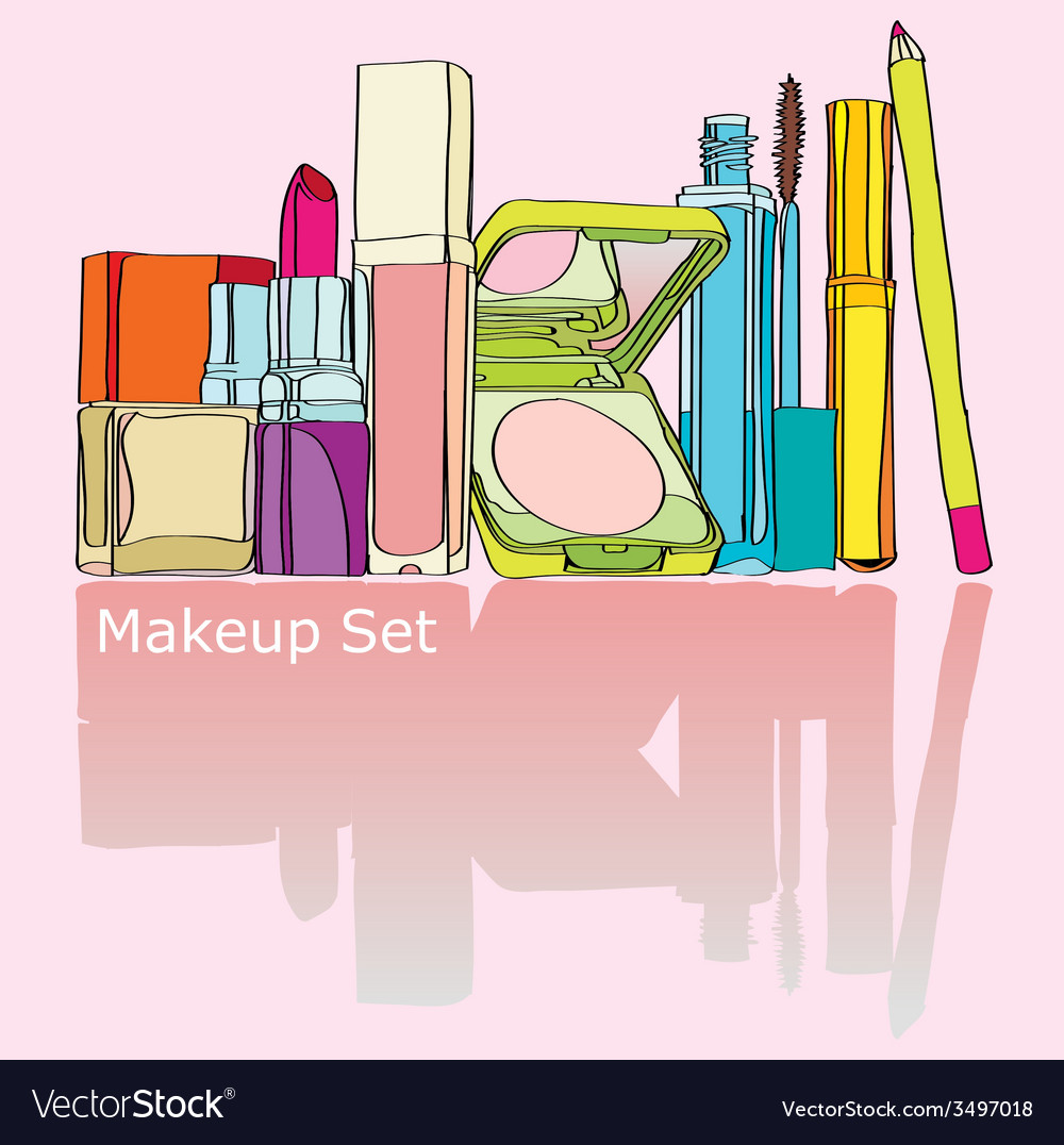Colorful makeup kit vector | Price: 1 Credit (USD $1)