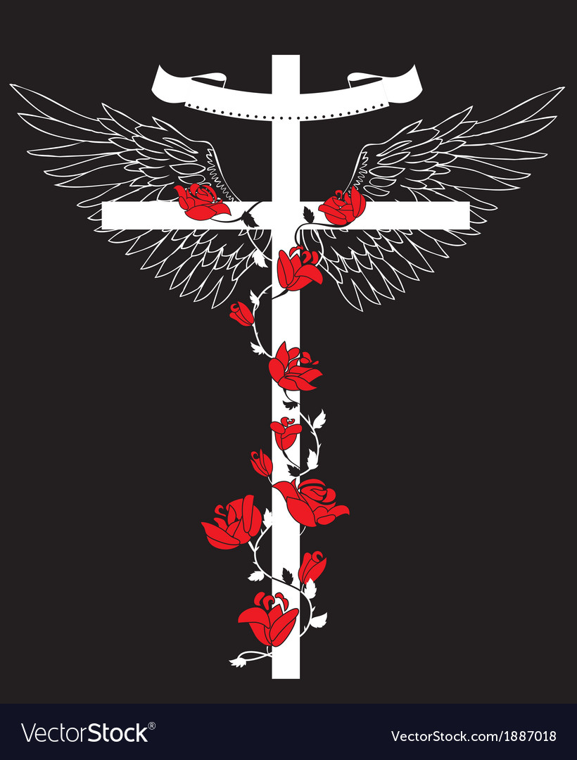 The cross with wings vector | Price: 1 Credit (USD $1)