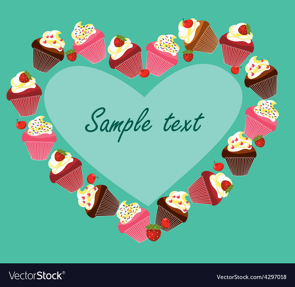 Cupcake card template vector | Price: 1 Credit (USD $1)