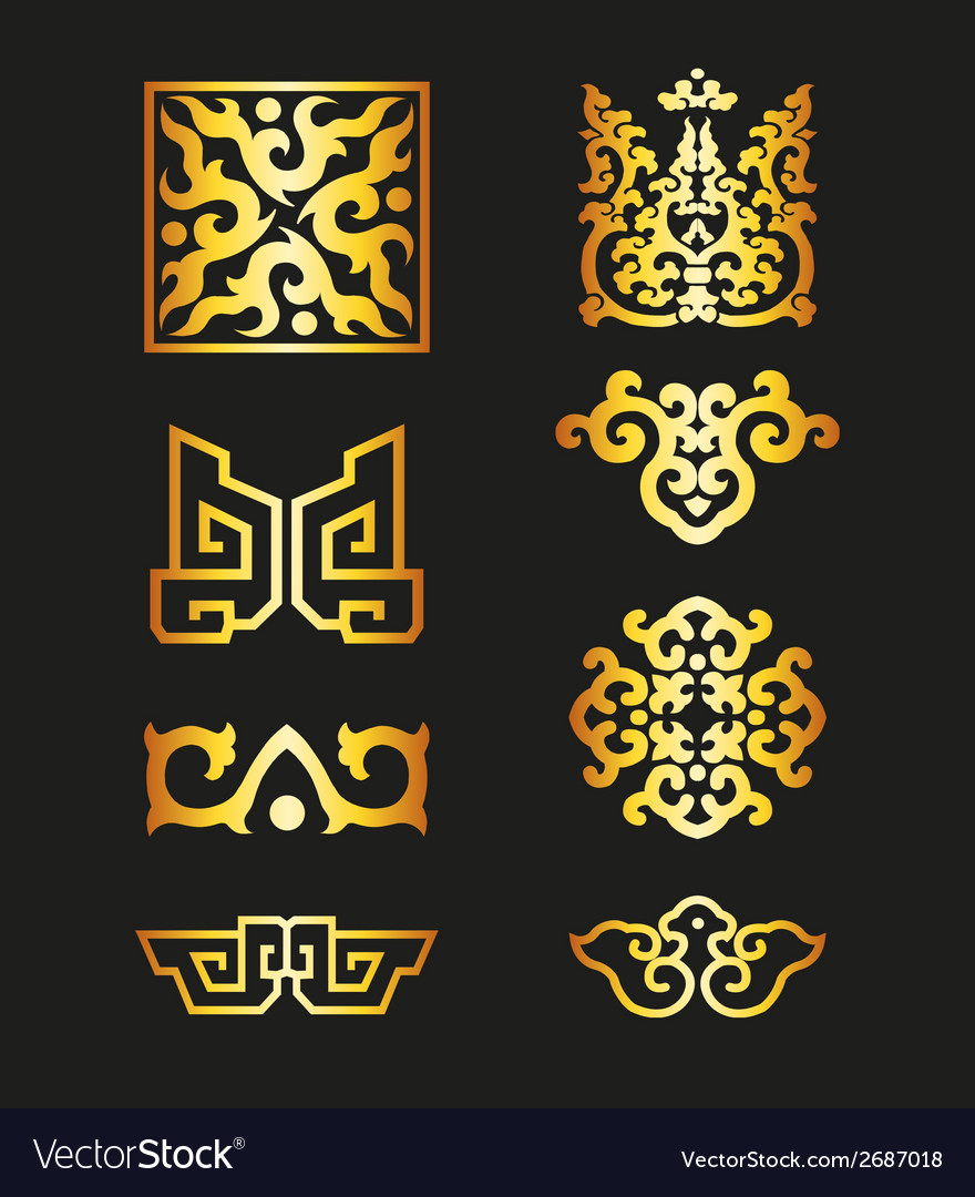 Golden vintage floral elements for your design vector   Price: 1 Credit (USD $1)