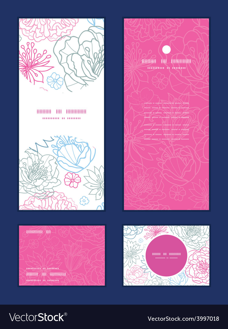 Gray and pink lineart florals vertical vector | Price: 1 Credit (USD $1)
