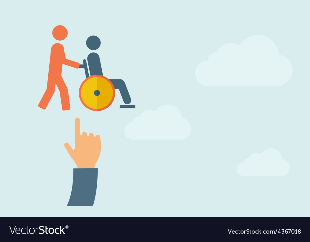 Hand pointing to a man push in wheelchair vector | Price: 1 Credit (USD $1)