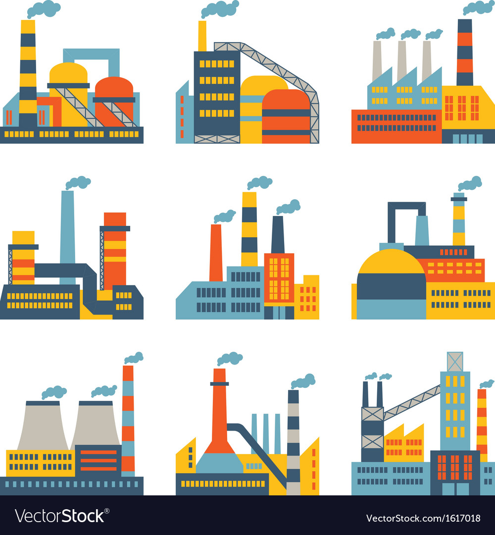 Industrial factory buildings icons set in flat vector | Price: 3 Credit (USD $3)