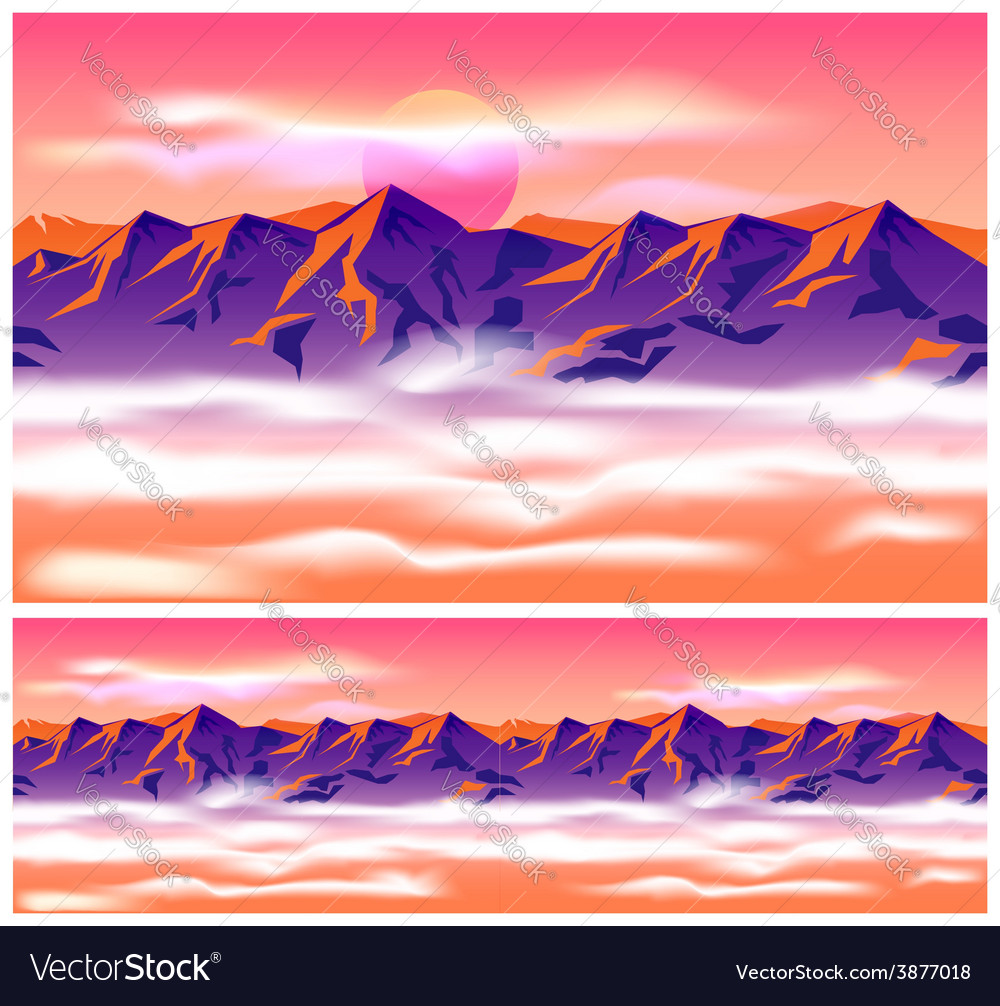 Mountain peaks in the clouds vector | Price: 1 Credit (USD $1)