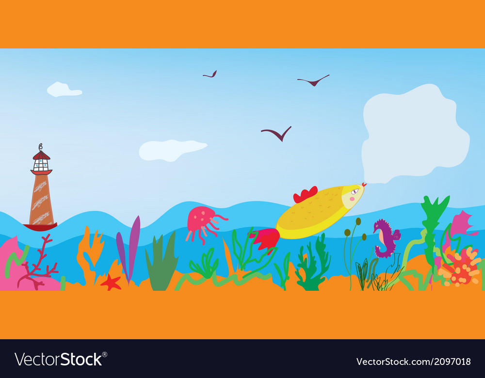 Sea banner with fish nature and lighthouse vector | Price: 1 Credit (USD $1)
