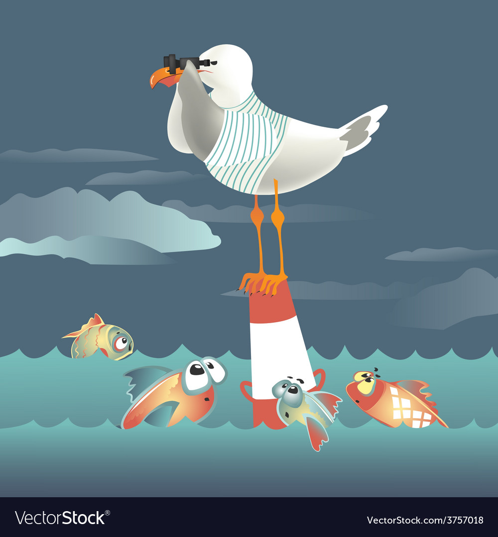 Seagull standing on the buoy and looking through vector | Price: 1 Credit (USD $1)