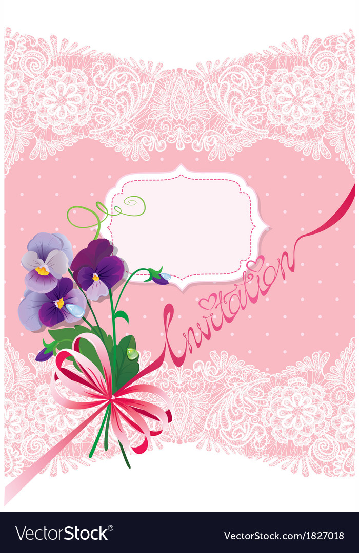 Valentines day or wedding card with pansy flowers vector | Price: 1 Credit (USD $1)