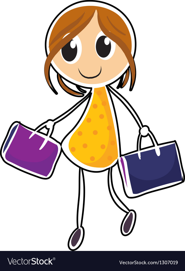 A girl with two bags vector | Price: 1 Credit (USD $1)