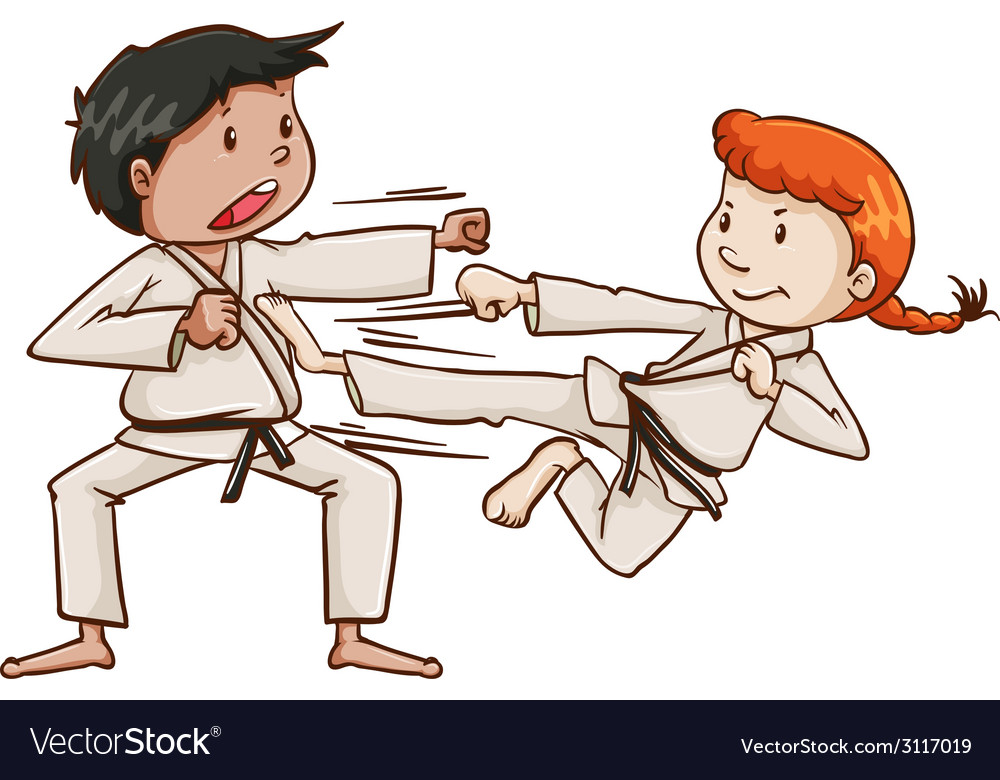 A male and a female doing martial arts vector | Price: 1 Credit (USD $1)