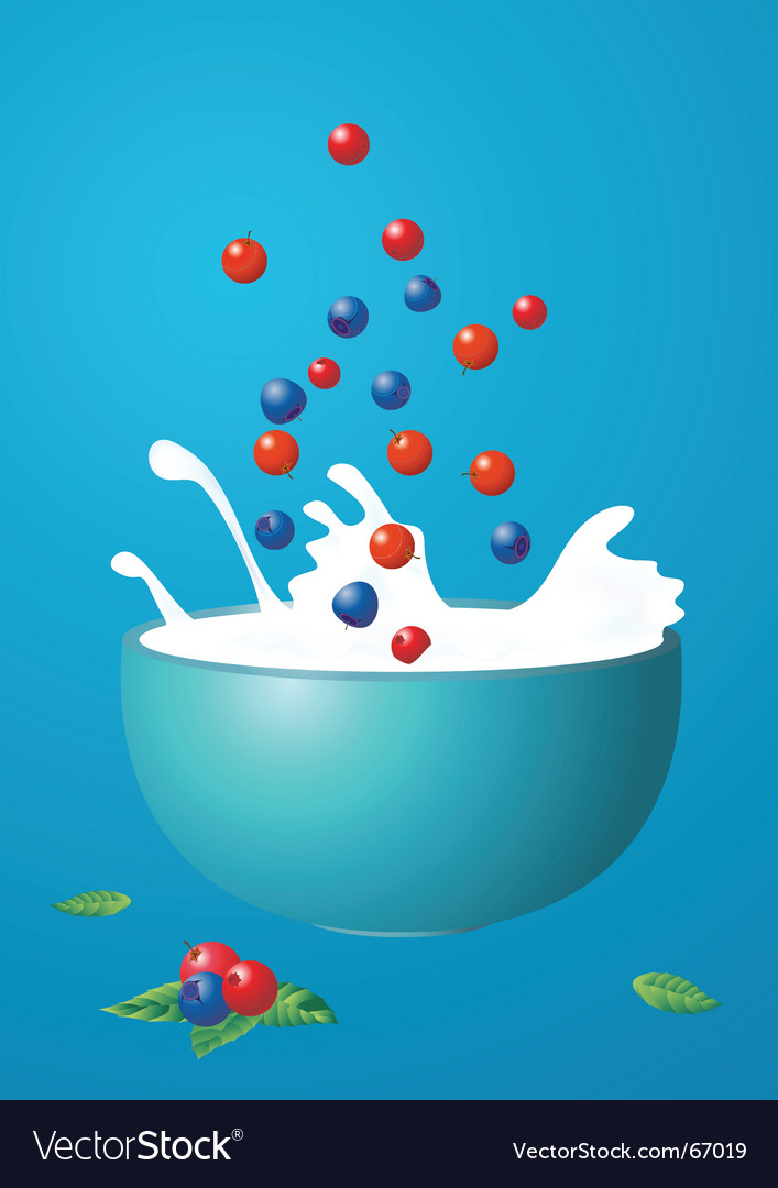 Berries fall in milk vector | Price: 1 Credit (USD $1)