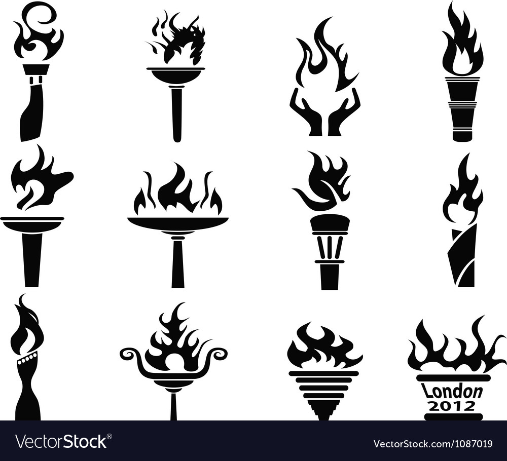 Black fire flame torch icons set vector | Price: 1 Credit (USD $1)