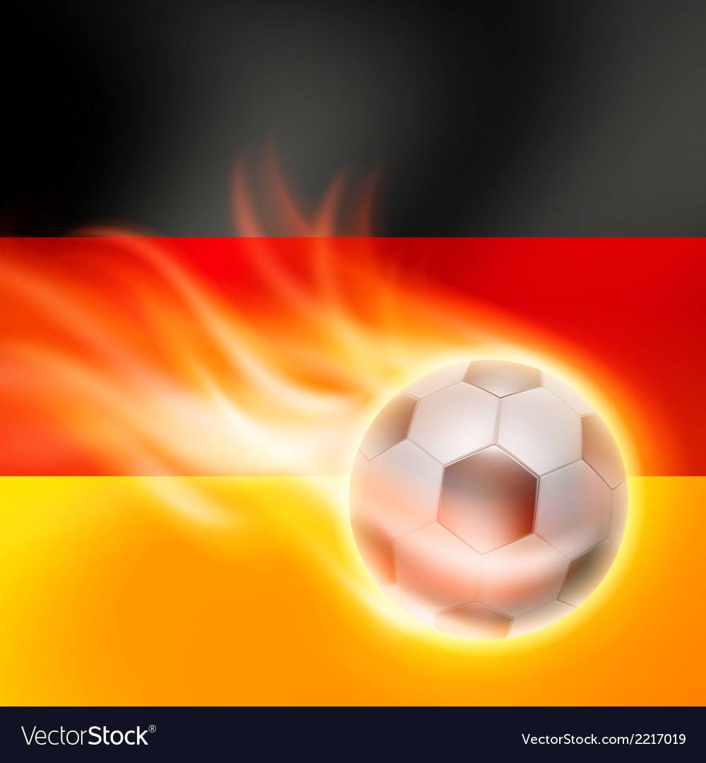 Burning football on germany flag background vector | Price: 1 Credit (USD $1)