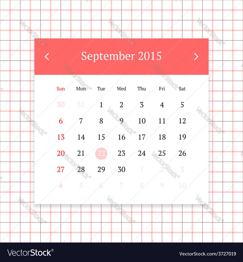Calendar page for september 2015 vector | Price: 1 Credit (USD $1)