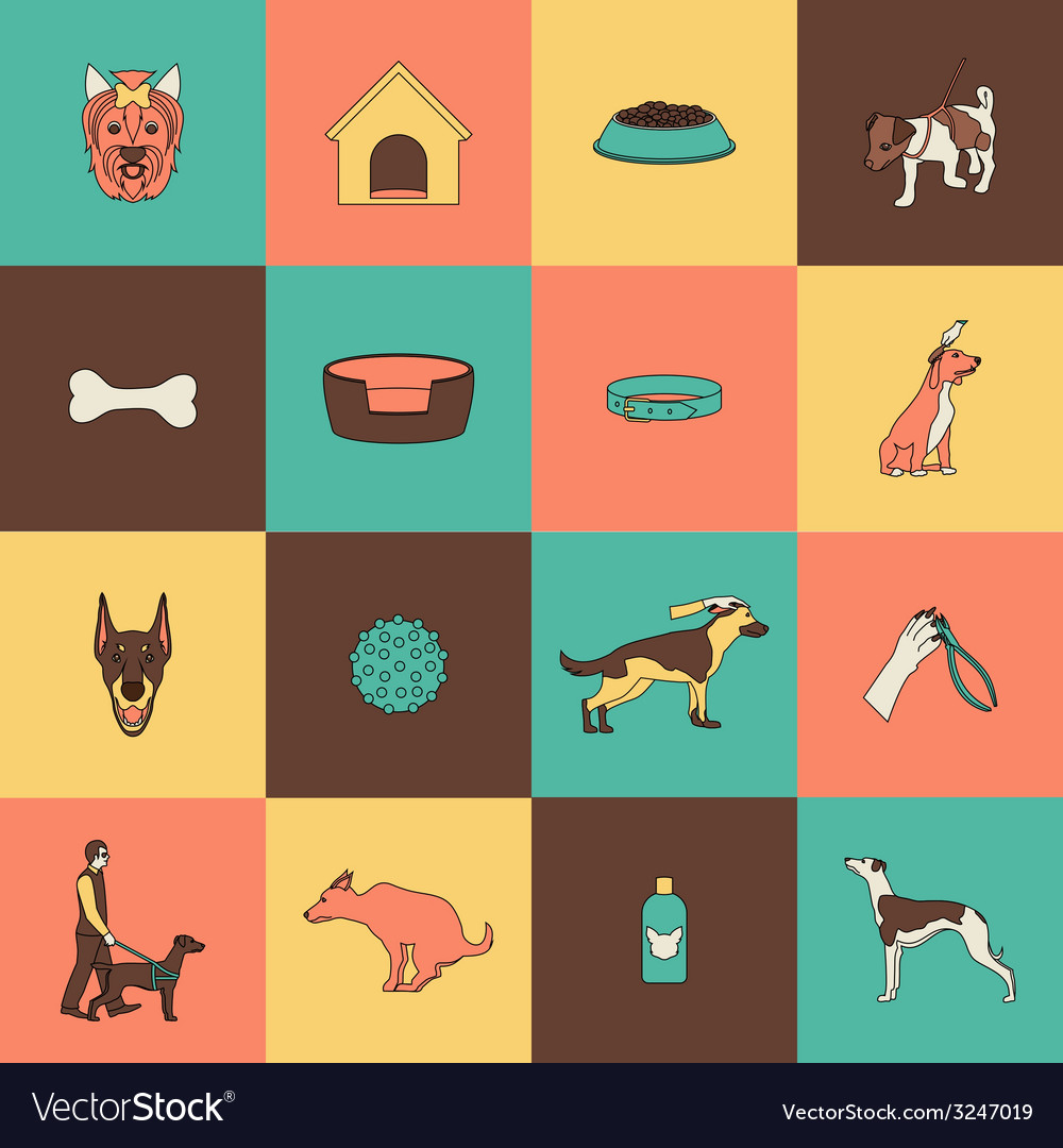 Dog icons flat line vector   Price: 1 Credit (USD $1)