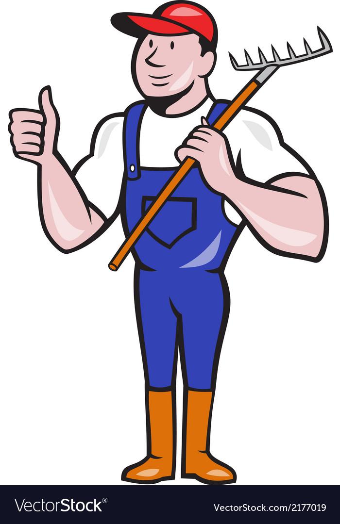 Gardener farmer hold rake thumbs up cartoon vector | Price: 1 Credit (USD $1)