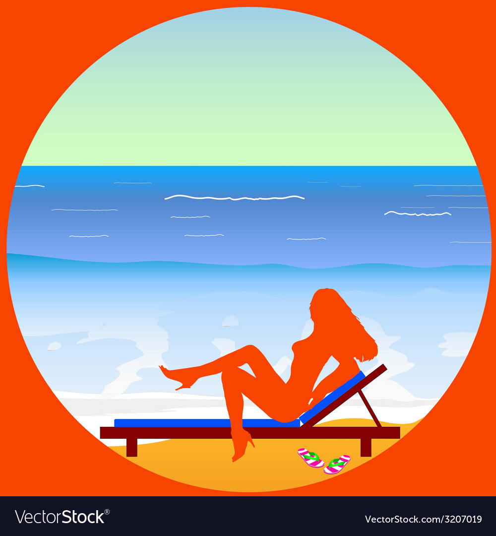 Girl enjoy on the paradise beach vector | Price: 1 Credit (USD $1)