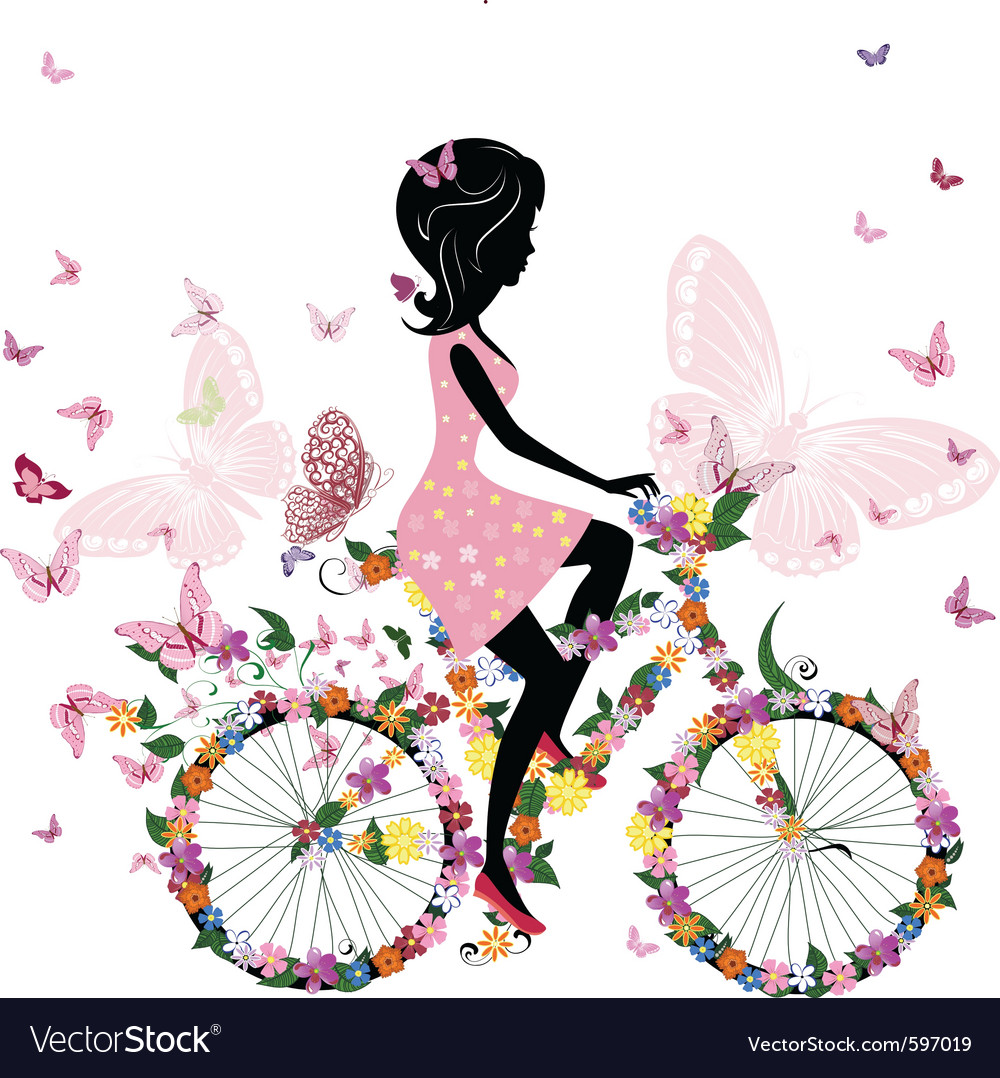 Girl on a bicycle vector | Price: 3 Credit (USD $3)