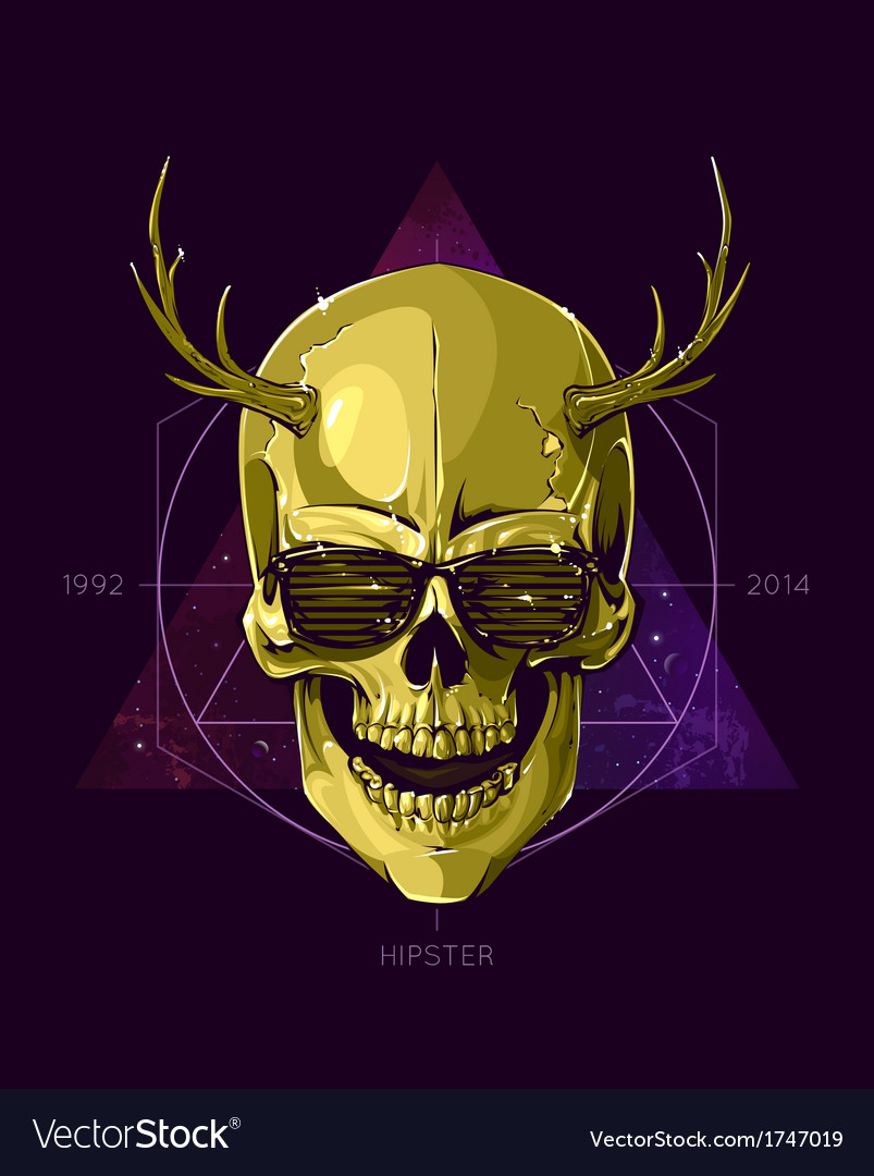 Hipster skull with horns vector | Price: 3 Credit (USD $3)