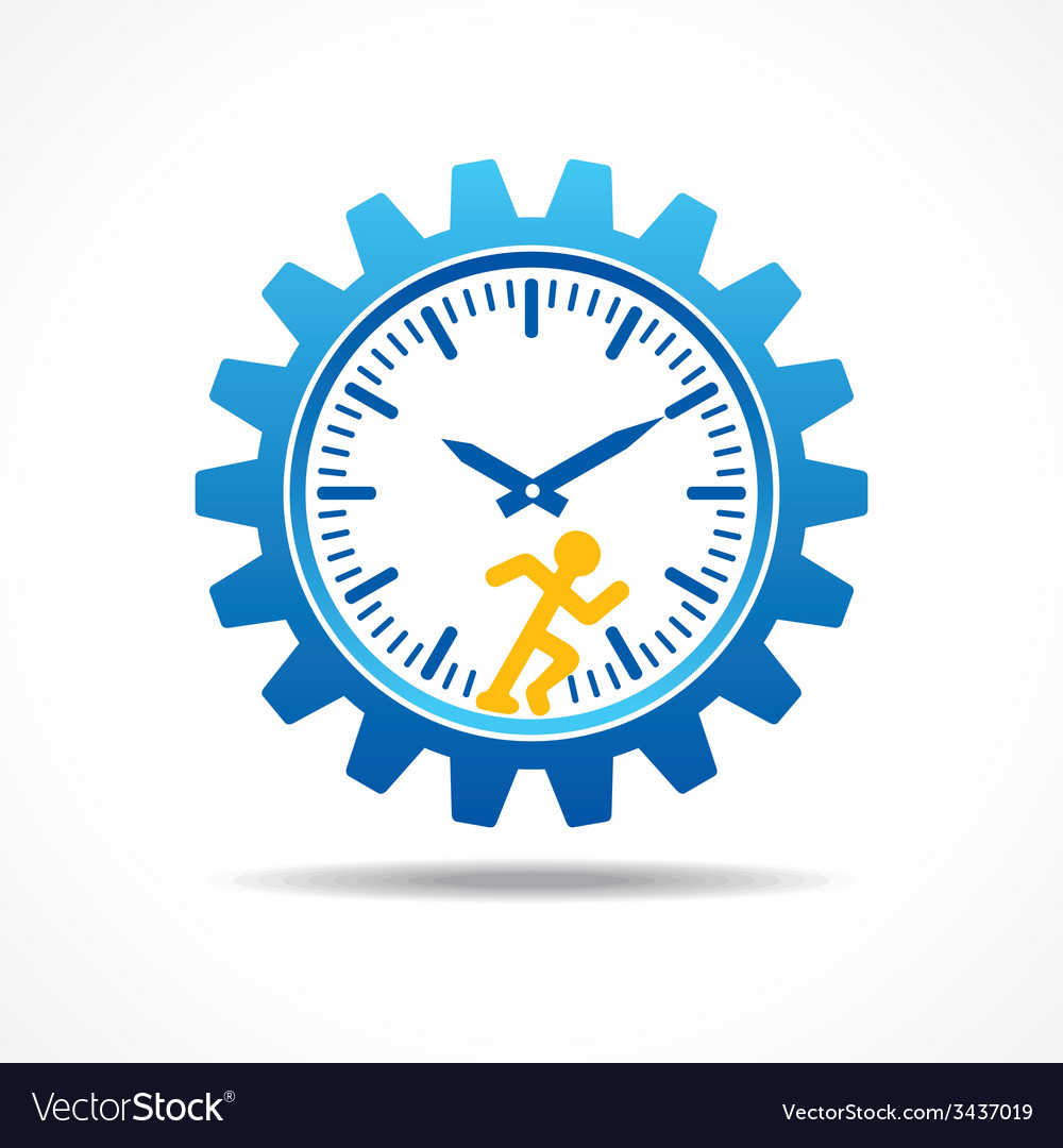 Man running with time concept vector | Price: 1 Credit (USD $1)