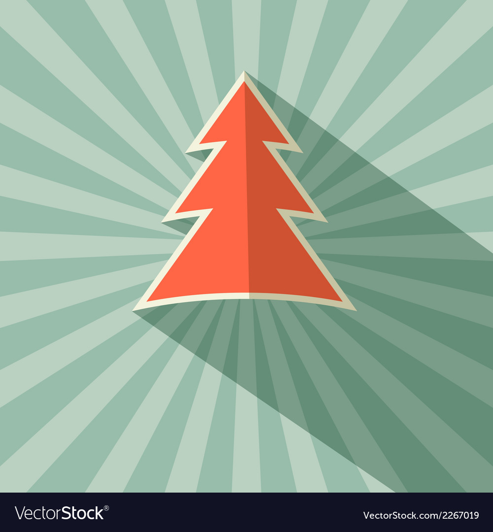 Paper tree retro on green background vector | Price: 1 Credit (USD $1)