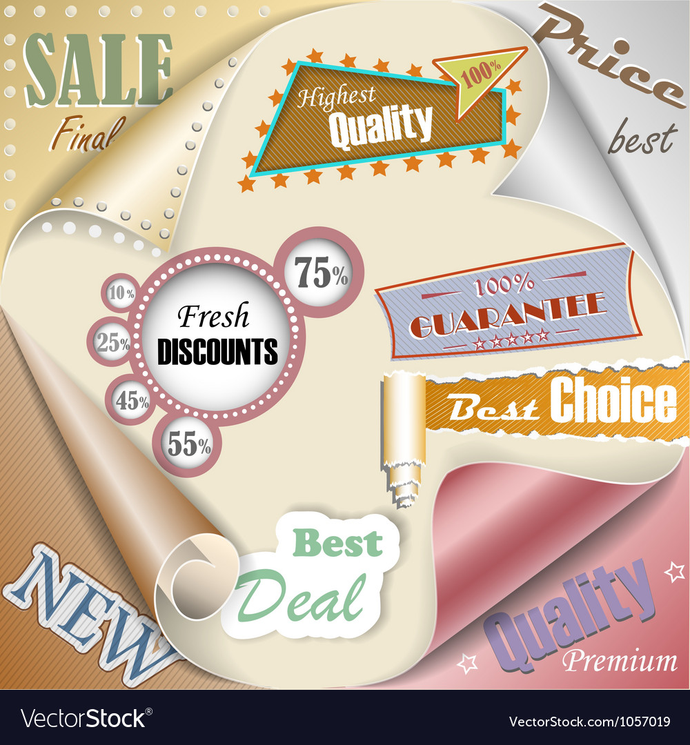 Retro and vintage paper sale elements eps10 vector | Price: 1 Credit (USD $1)
