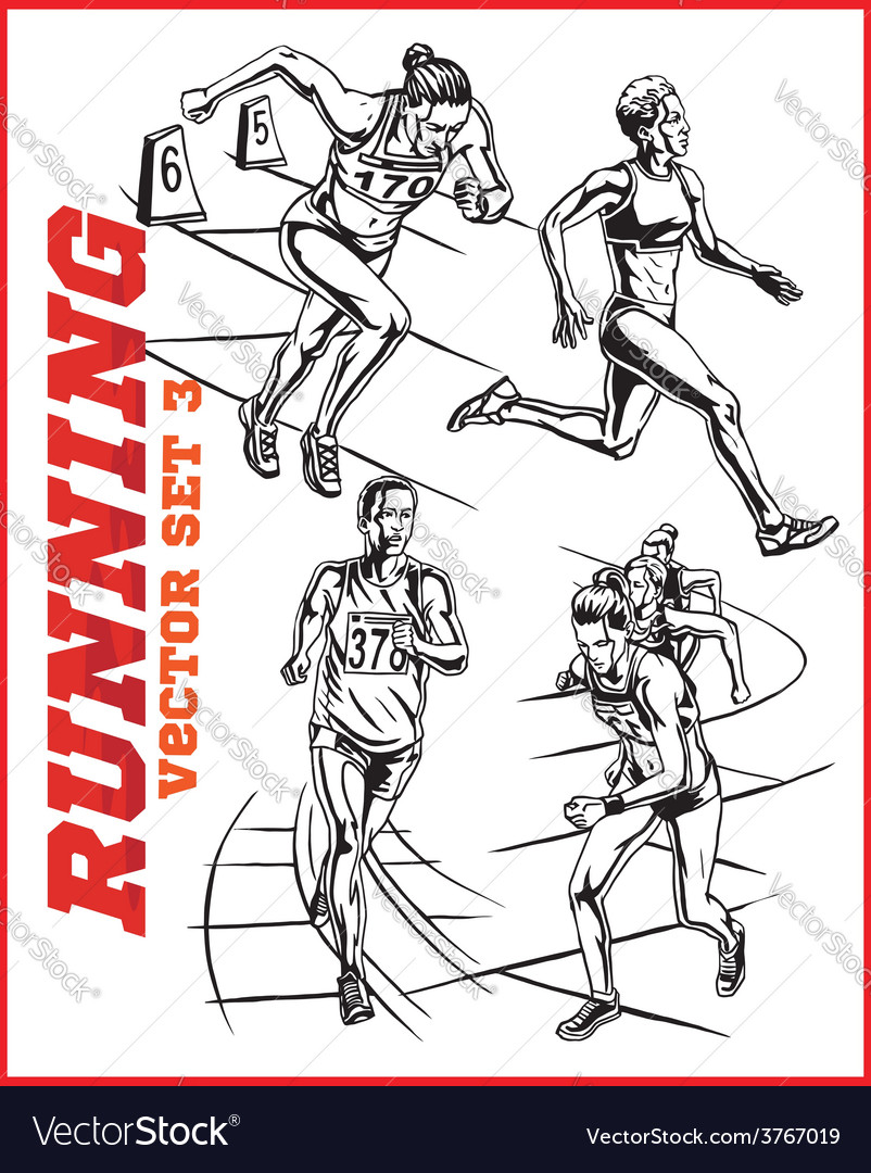 Running people collection - vector | Price: 3 Credit (USD $3)