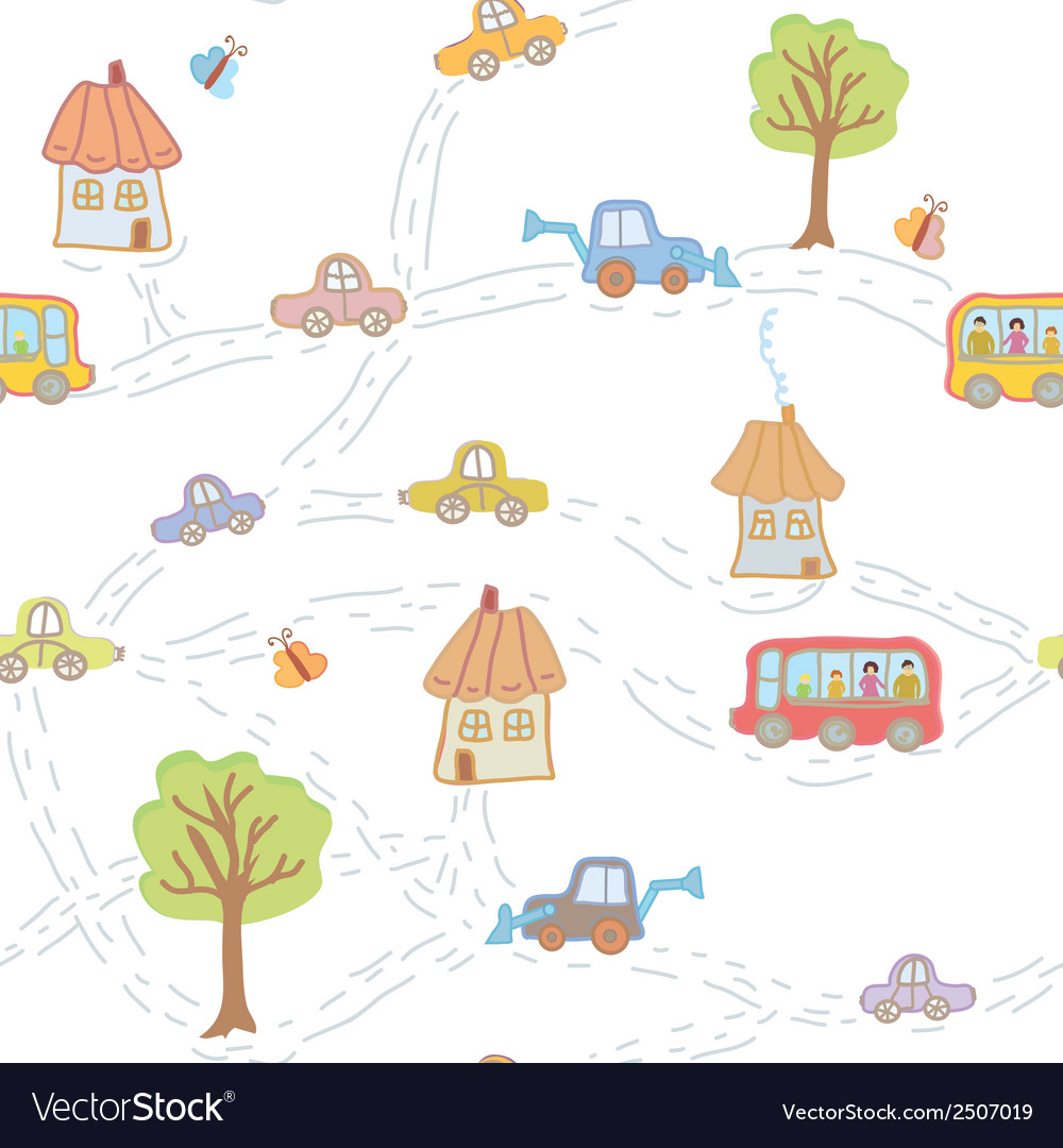 Seamless funny pattern for child with town vector | Price: 1 Credit (USD $1)