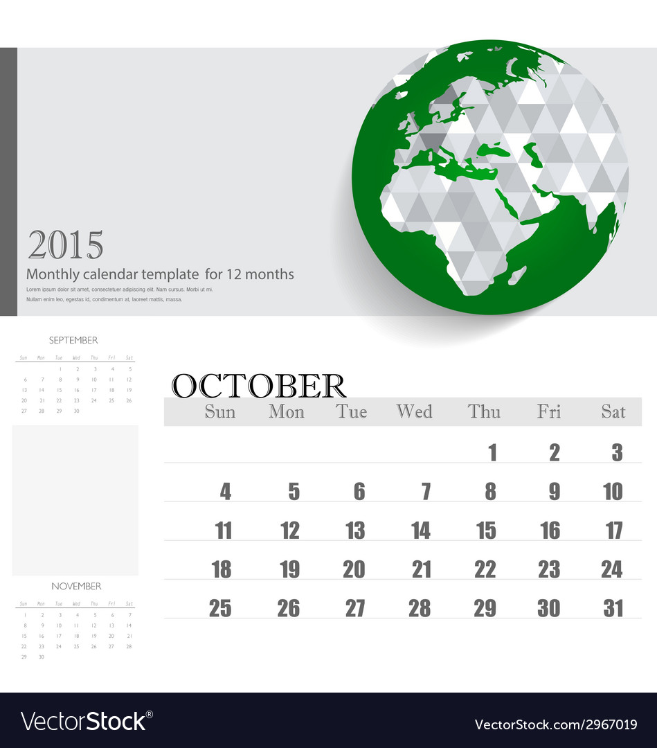 Simple 2015 calendar october vector | Price: 1 Credit (USD $1)