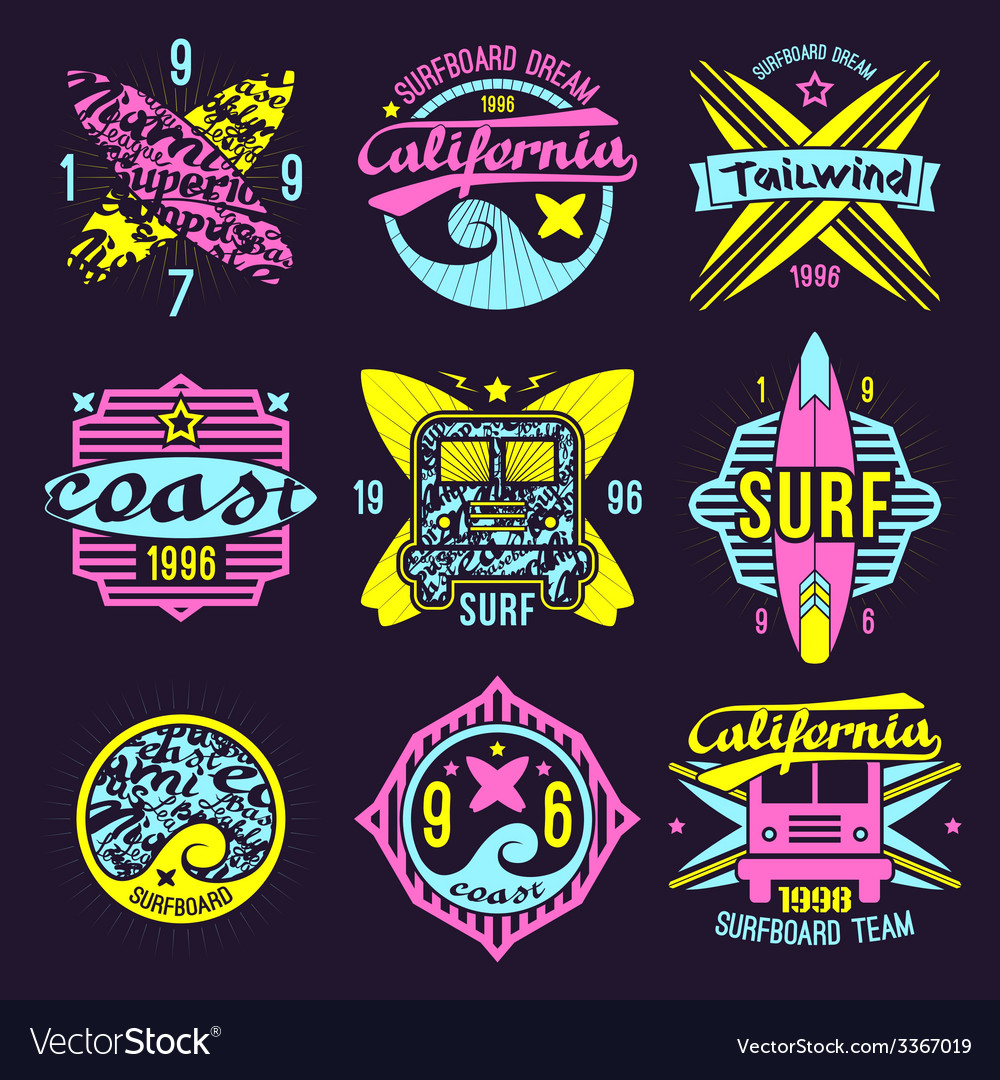 Surfing emblem in retro style vector | Price: 1 Credit (USD $1)