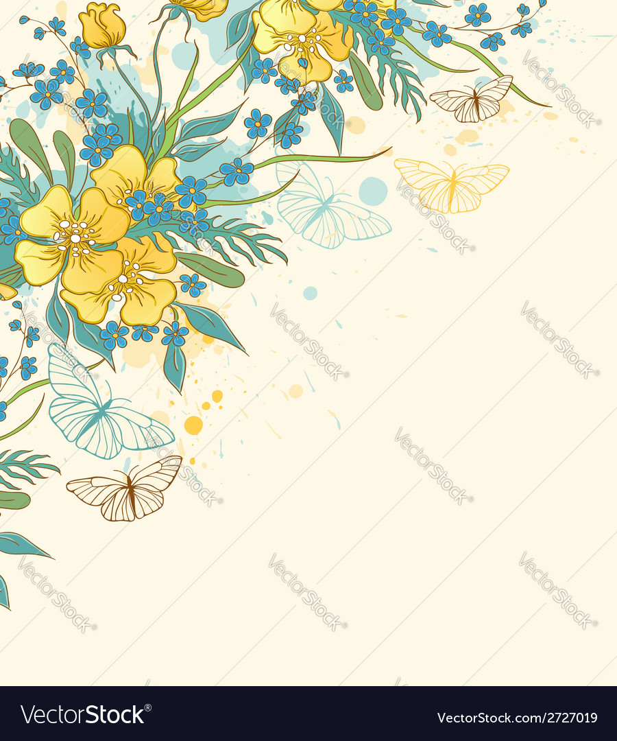 Yellow flowers and butterflies vector | Price: 1 Credit (USD $1)