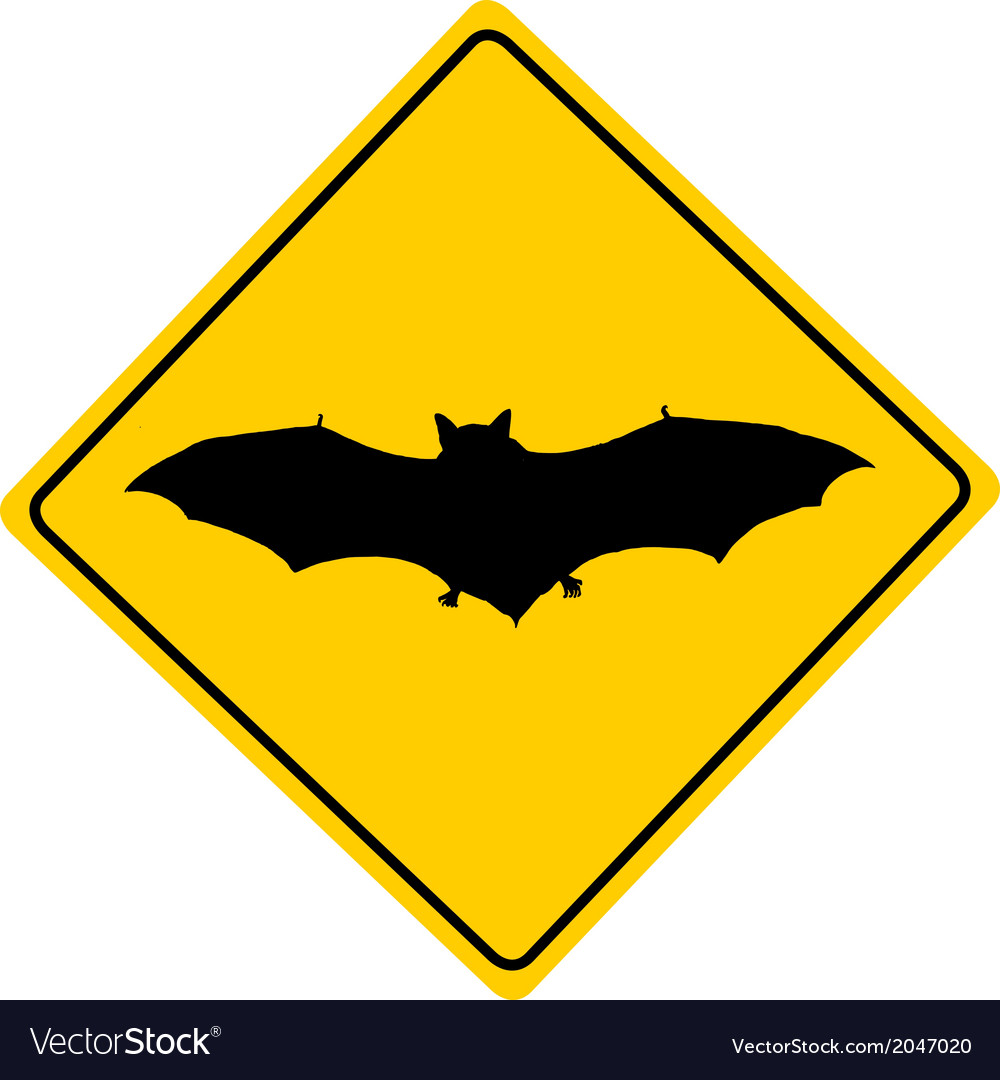 Bat warning sign vector | Price: 1 Credit (USD $1)