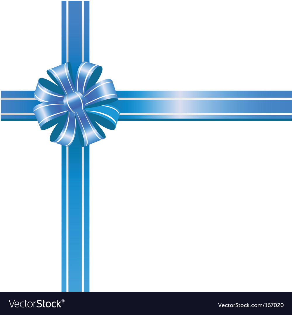 Blue bow on white background vector | Price: 1 Credit (USD $1)