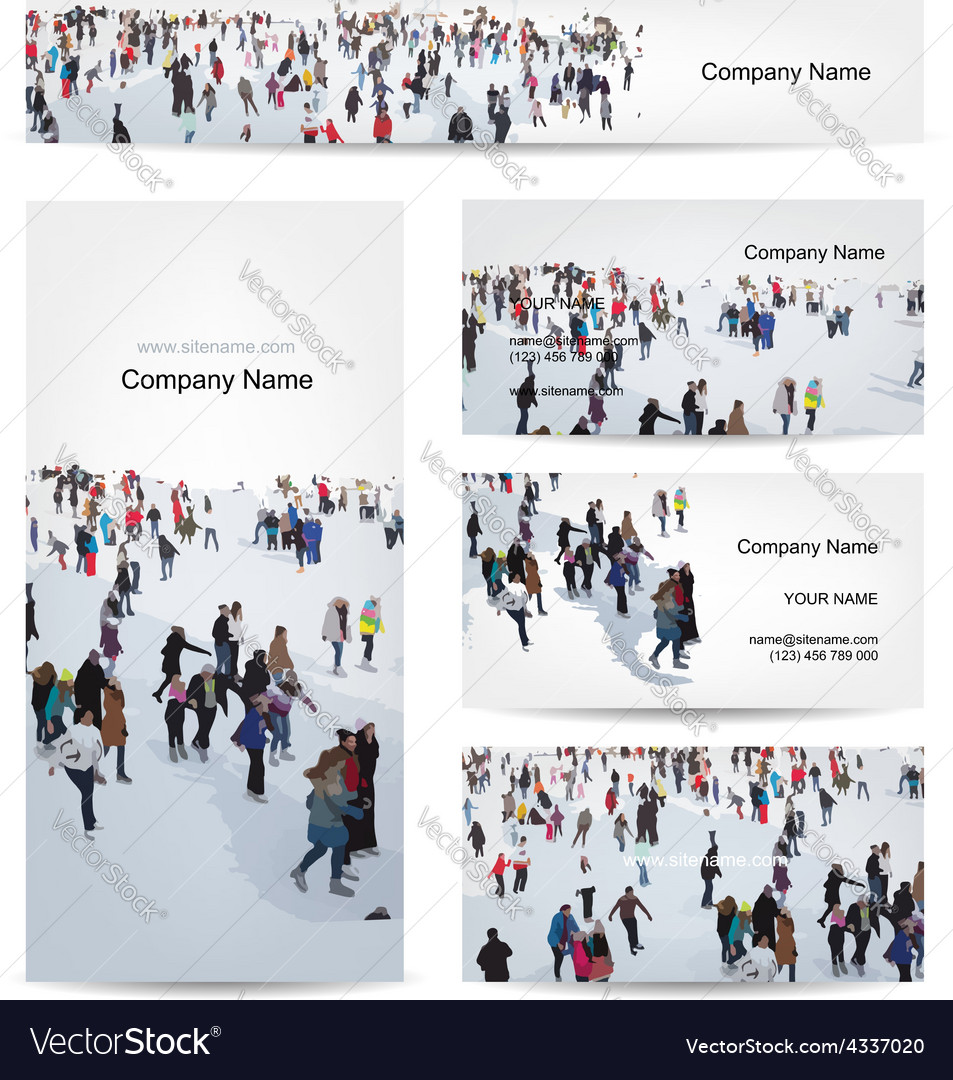 Business cards design skaters on rink vector | Price: 1 Credit (USD $1)