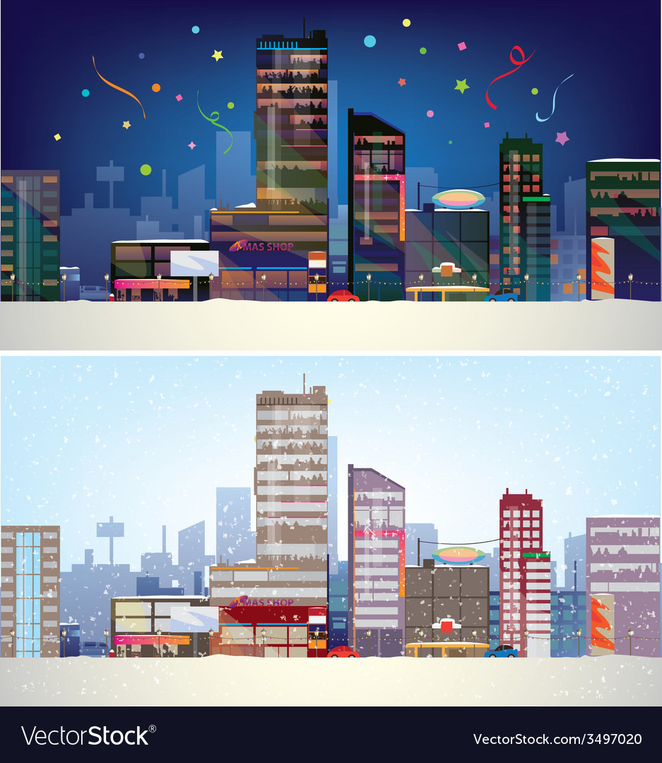 City winter vector | Price: 3 Credit (USD $3)