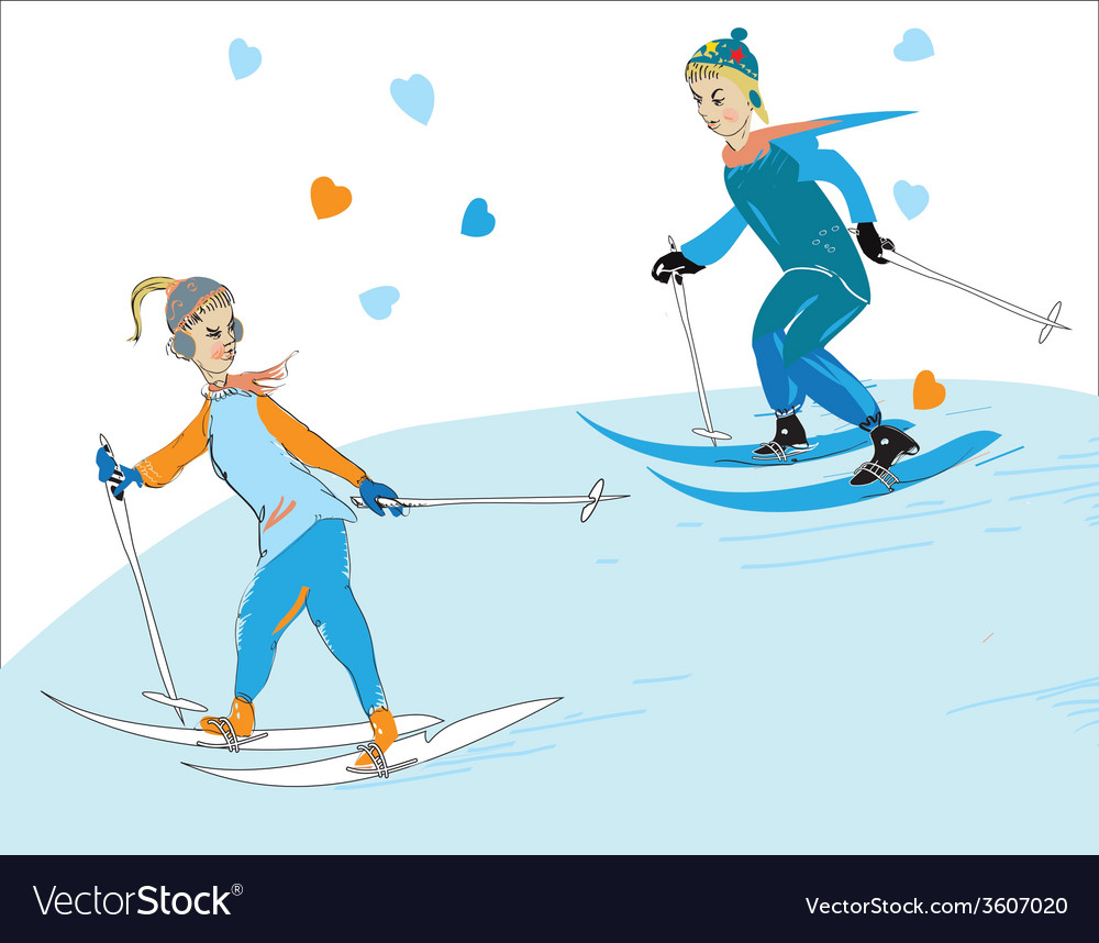 Couple skiing vector | Price: 1 Credit (USD $1)