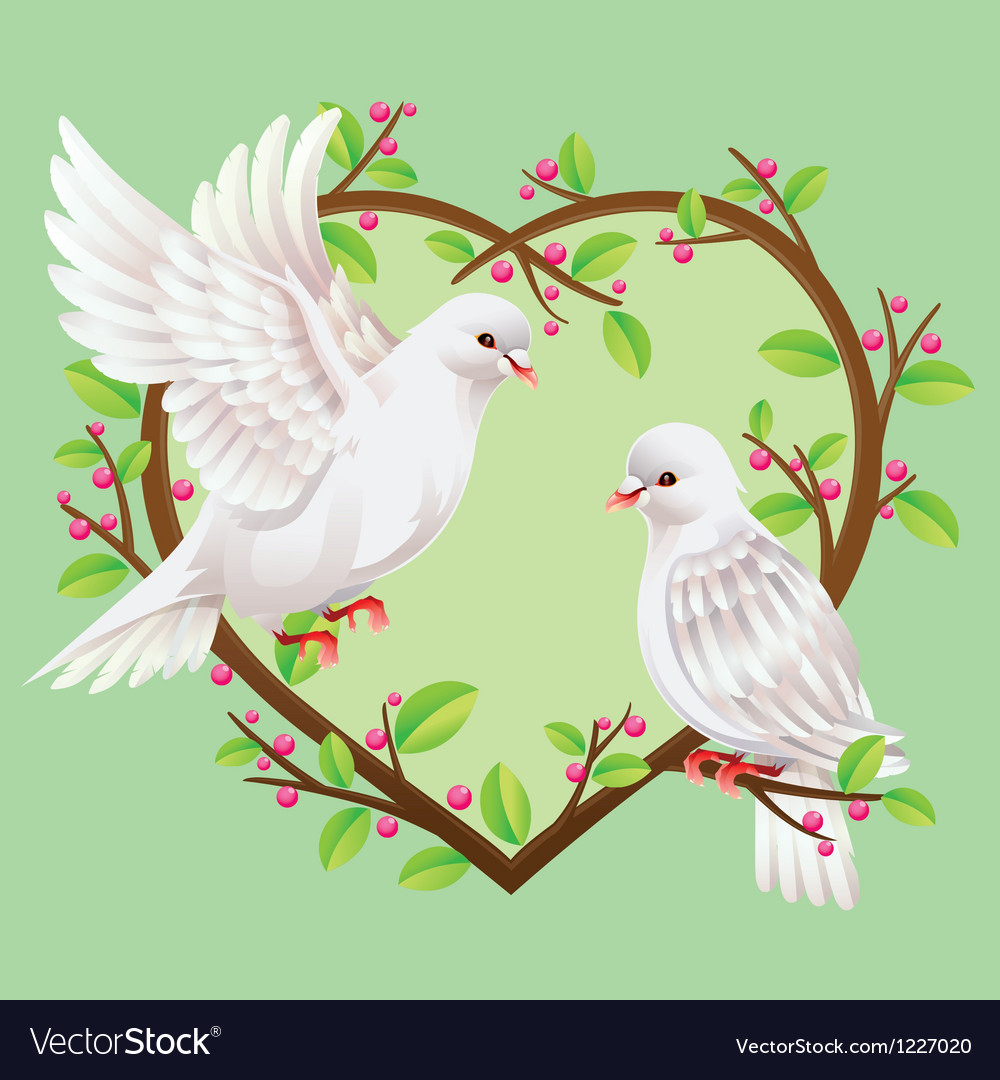 Dove on a heart shape tree vector | Price: 1 Credit (USD $1)