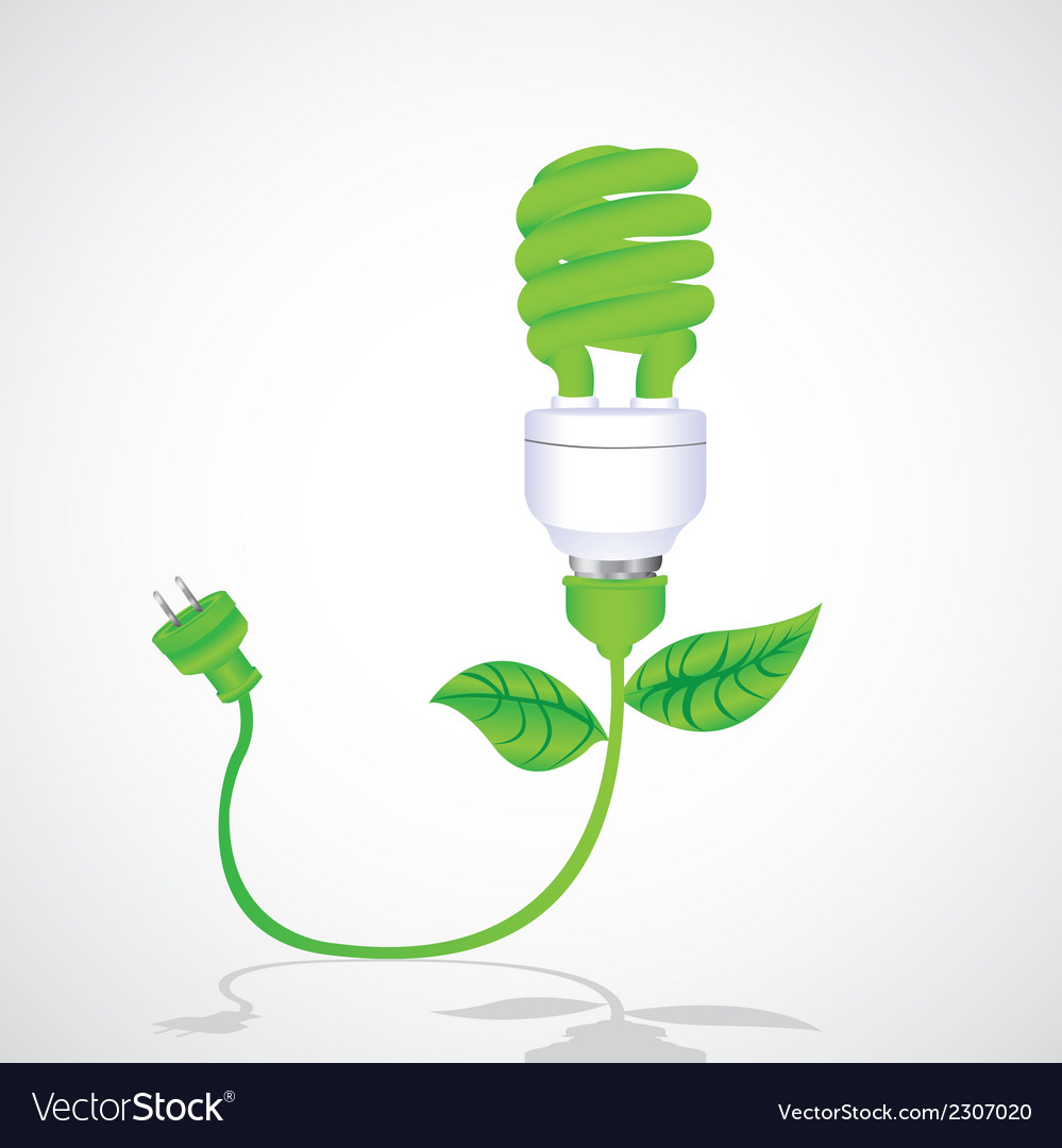 Eco bulb with cable leaf and plug isolated on whit vector | Price: 1 Credit (USD $1)