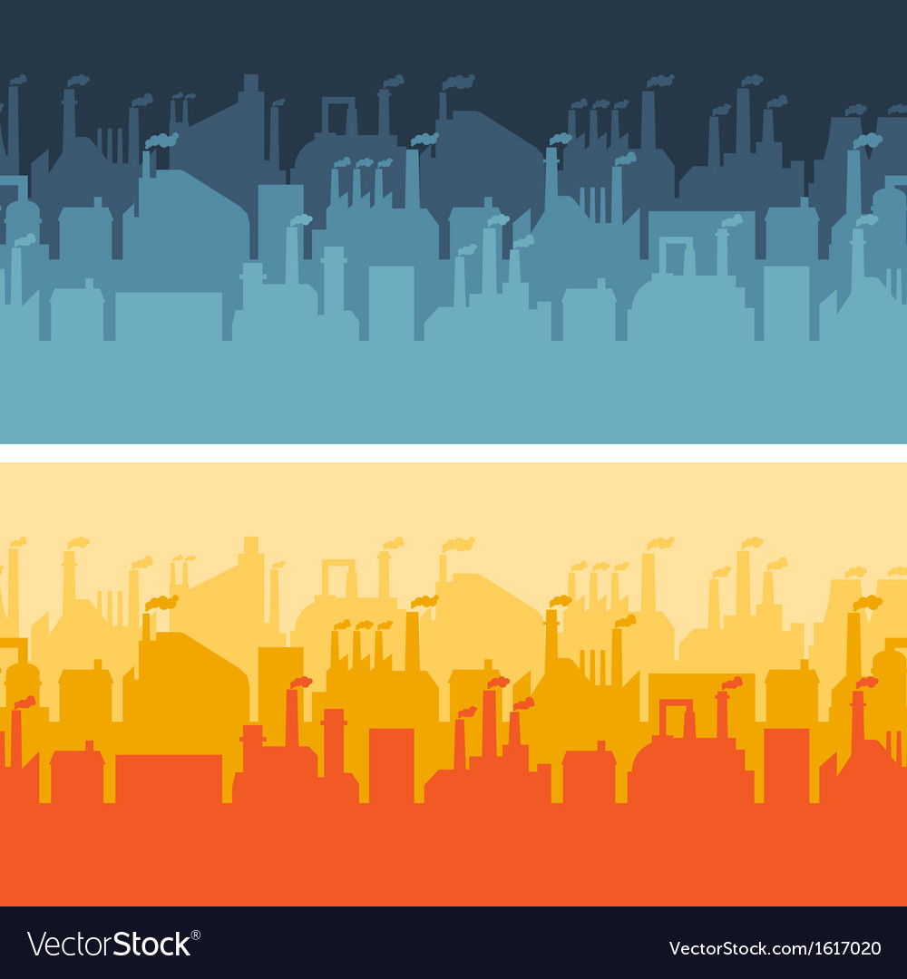 Industrial factory buildings horizontal banners vector | Price: 1 Credit (USD $1)