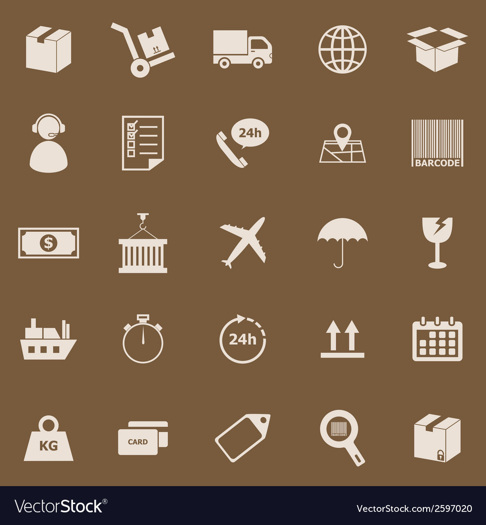Logistics color icons on brown background vector | Price: 1 Credit (USD $1)