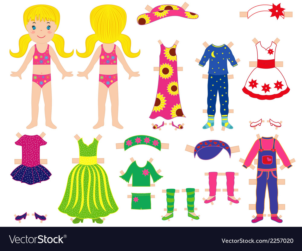 Paper doll and clothes set for her vector | Price: 1 Credit (USD $1)