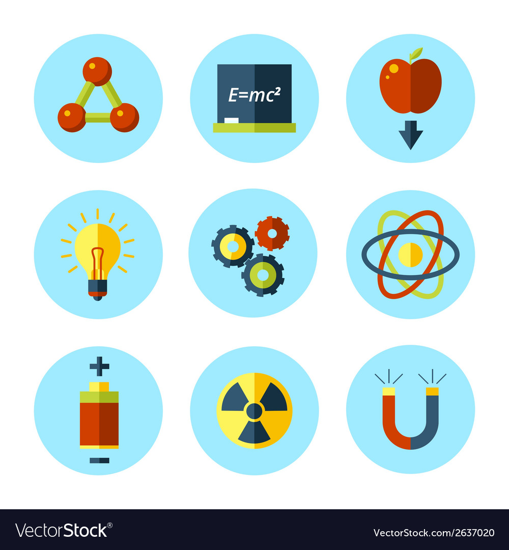 Physics icon set in modern flat style vector | Price: 1 Credit (USD $1)