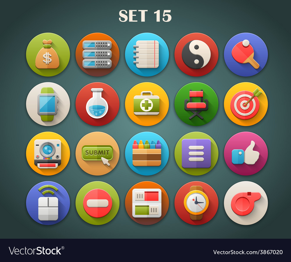 Round bright icons with long shadow set 15 vector