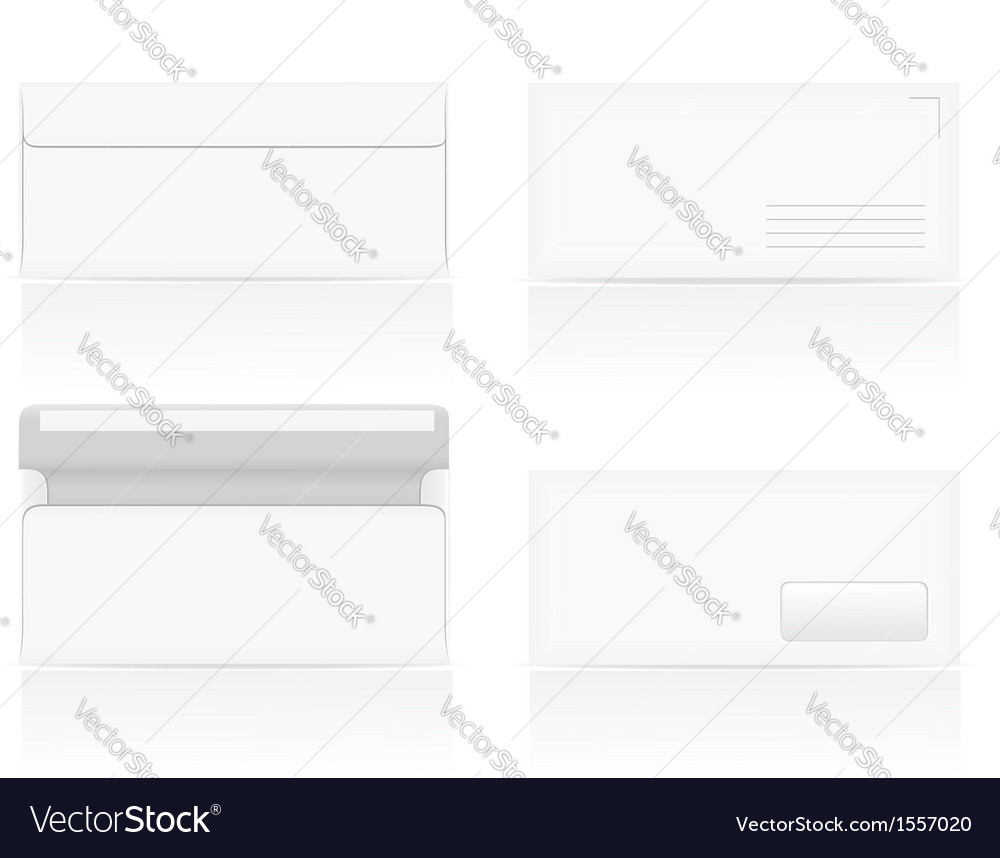 Set of white blank envelopes 02 vector | Price: 1 Credit (USD $1)